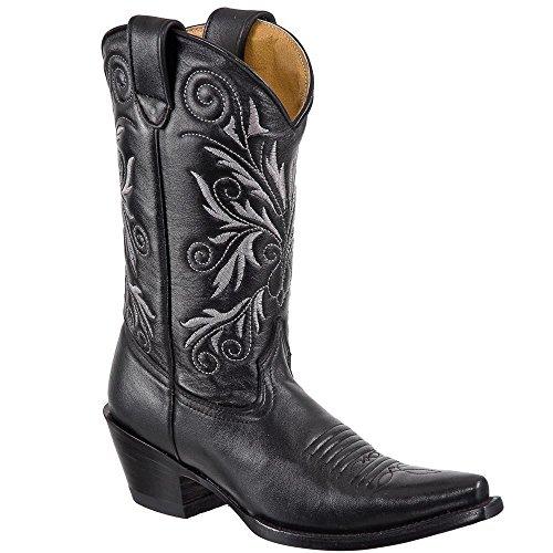 Women cowboy/Girl genuine cow hide best quality leather Snip toe boots Black om4kzTp