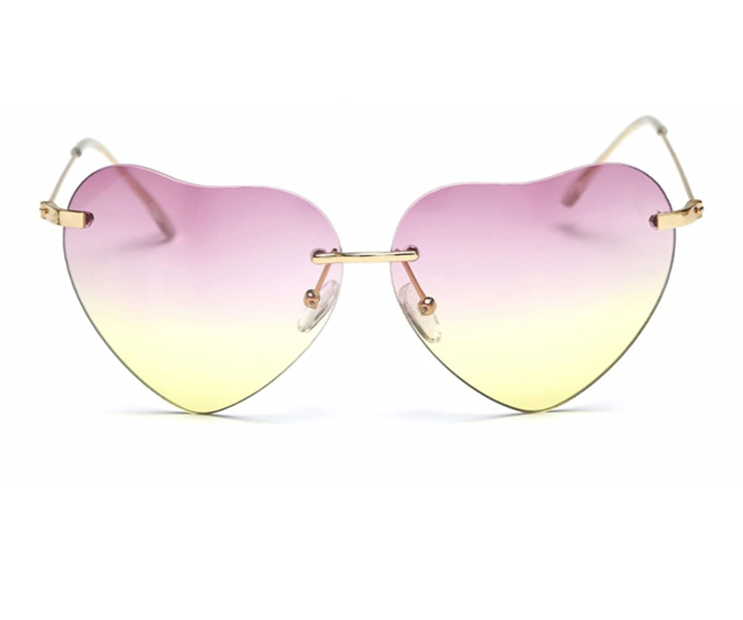 Heartisan Super Cute Heart Shaped Rimless Bicolor Lens Sunglasses