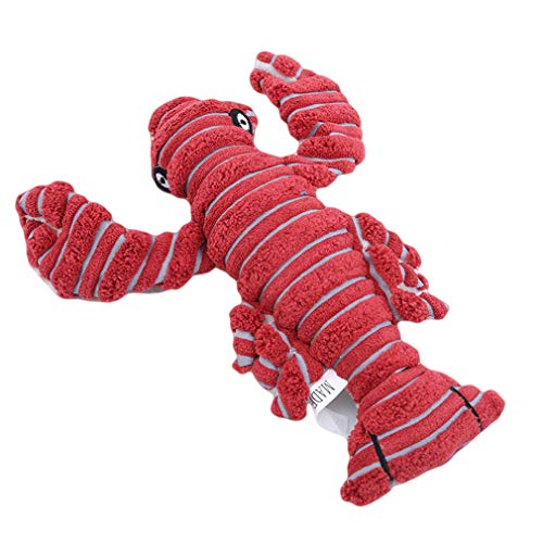 (Yunzee Plush Pet Toy Lobster Shape Dog Chew Training Toy Soft Stuffing Animal Doll Interactive Cute Plush Doll Cat Chewing)