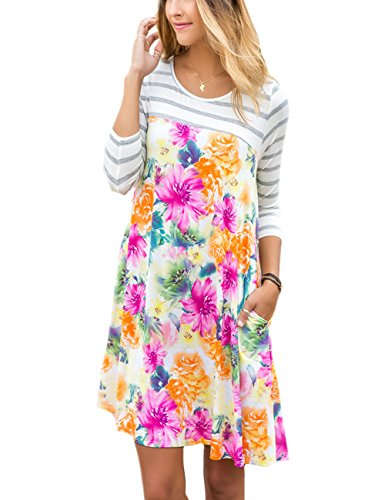 3/4 sleeve casual summer dresses - 7