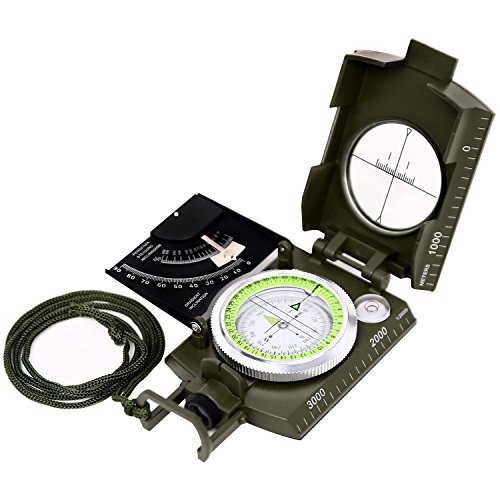 Sportneer Multifunctional Military Lensatic Sighting Compass with Inclinometer and Carrying Bag, Waterproof and Shakeproof, Army Green (Compass Accurate)
