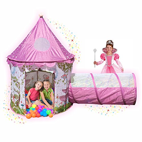 Playz Sunroof Princess Castle Play Tent with Tunnel and Pink Girls Playhouse Fairy Tale Carrying Case