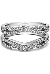 Silver Double Infinity Wedding Ring Guard Enhancer with CZ (0.49 ct. twt.)