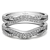 TwoBirch Sterling Silver Double Infinity Wedding Ring Guard Enhancer with Cubic Zirconia (0.49 ct. tw.)