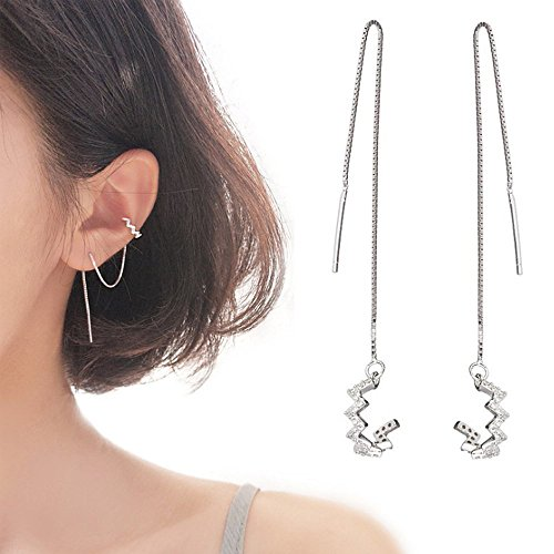 - AC Fashion Korean Version Chic Ear Line for Women. 925 Sterling Silver Wave Cuff Earrings Wrap Tassel Earrings for Women Threader Earrings Perfect Valentine's Day (Silver)