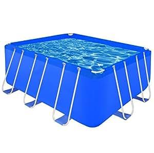 "SKB Family Above Ground Swimming Pool Steel Rectangular 13' 1"" x 6' 9"" x 4' Frame Det Meadows"