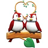 Ornaments by Elves Personalized Birds on Branch Family of 2 Christmas Ornament for Tree 2018 - Cute Couple Sibling Friend with Nature Heart - Winter Holiday Tradition - Free Customization (Two)