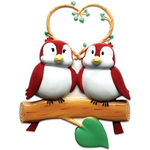 Personalized Birds on Branch Family of 2 Christmas Tree Ornament 2019 - Cute Couple Sibling Friend with Nature Heart Winter Holiday Tradition Gift Year - Free Customization (Two)