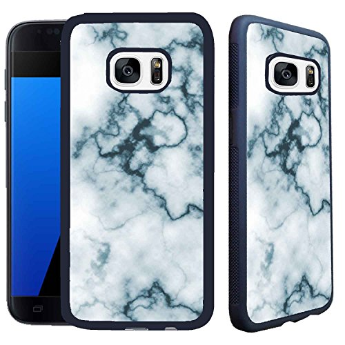 [TeleSkins] - Samsung Galaxy S7 Case - Marble - Ultra Durable Slim Fit, Protective Plastic with Soft RUBBER TPU Snap On Back Case / Cover (Breast Cancer Mosaic)