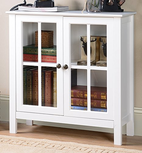 American Furniture Classics OS Home and Office Glass Door Accent and Display Cabinet, White by American Furniture Classics