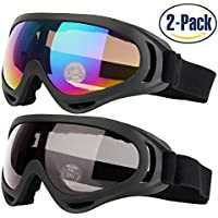 2-Pack Cooloo Ski/Snowboard Goggles with UV 400 Protection, Wind Resistance, Anti-Glare Lenses