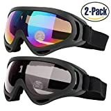 COOLOO Ski Goggles, Pack of 2, Snowboard Goggles for Kids, Boys & Girls, Youth, Men & Women, with UV 400 Protection, Wind Resistance, Anti-Glare Lenses, made by, Multicolor/Gray