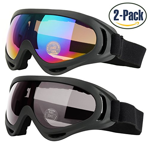 Ski Goggles, Pack of 2, Snowboard Goggles for Kids, Boys & Girls, Youth, Men & Women, with UV 400 Protection, Wind Resistance, Anti-Glare Lenses, made by COOLOO, Multicolor / - 400 Lens Uv Protection