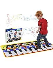 Piano mat, dansmat, pianomat, muziekmat, kinderen, 5 modi, 8 instrumenten, geluiden, speelgoed, muziekmat, toetsenbordmatten, speeltapijt, baby, dansmat voor kinderen, 110 x 36 cm