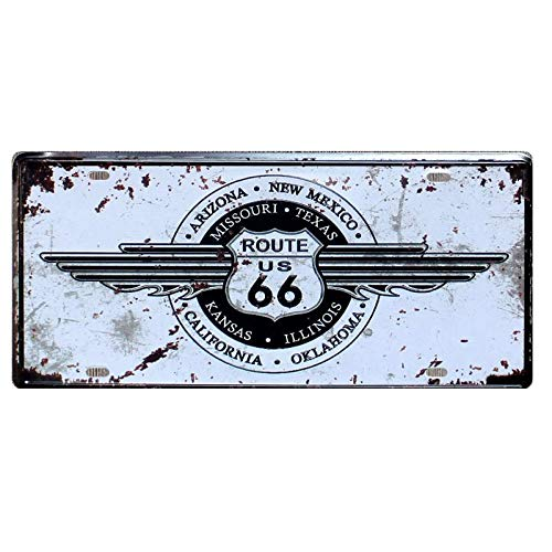 PotteLove USA Route 66 Car License Plate Vintage Metal Signs Tin Plaque Wall Poster for Garage Man Cave Cafe Bar Pub Beer Patio Home Decor (Usa License Plates Plaque)
