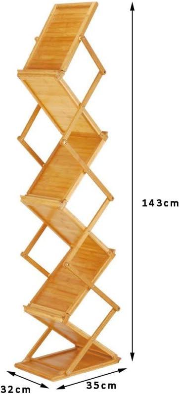 Datenbrosch/üre Doppelseitiges Display Stand Buchen Zimmer Rahmen Tabelle 35x32x143cm Bambus-Holz-Klapp Magazine Rack