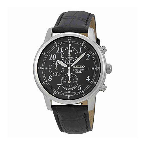 Seiko Men's SNDC33 Classic Black Leather Black Chronograph Dial Watch (Leather Chronograph Watch Dial)