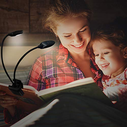 Rechargeable Warm& White 10 LED book light/music stand light, Easy Clip-on Reading in Bed at night, 3color×3 Brightness Levels, 2.8 oz Lightweight, Perfect for Bookworms & Kids