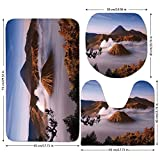 3 Piece Bathroom Mat Set,Volcano,Mount Bromo Volcanoes Taken in Tengger Caldera East Java Indonesia Decorative,Light Caramel Blue White,Bath Mat,Bathroom Carpet Rug,Non-Slip