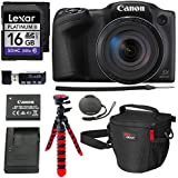 Canon PowerShot SX420 Digital Camera 42x Optical Zoom Wi-Fi NFC Enabled, Lexar Platinum II 16GB SD Card, DSLR Camera Bag, 12 Tripod and Premium Accessory Bundle