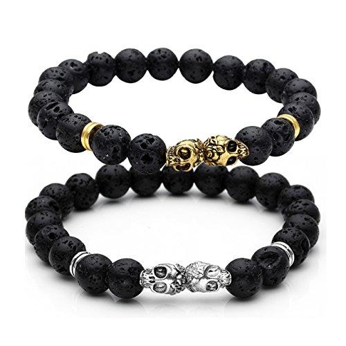 2 Top Plaza Healing Energy Black Mens Lava Rock Bracelet Set