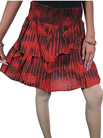 Elina Womens Boho Maxi Skirt Cotton Red Two Layered Flared Gypsy Hippie Knee Length Holiday Fashion Skirts (Medium)