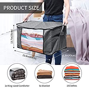 king do way Large Capacity Clothes Storage Bag Organizer with Zips,Carry Handles&Clear Window Thick Fabric Foldable Storage Anti-Mold Moistureproof Closet Storage Boxes for Comforters,Blankets,Bedding