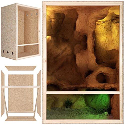Terrarium: Holzterrarium für Reptilien 60x120x60cm Frontbelüftung, Hochterrarium aus OSB Holz, für kletternde Tiere
