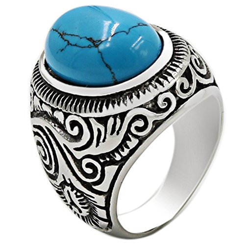 Jude Jewelers Retro Vintage Stainless Steel Turquoise Onyx Ring (Blue, 10)