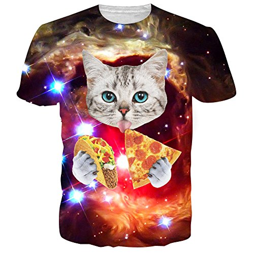 RAISEVERN 3D Galaxy Space Cat Printed Hip Hop Stylish T-Shirts