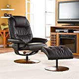 Southern Enterprises Bonded Leather Recliner and Ottoman – Black