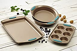 Rachael Ray Cucina 4-Piece Bakeware Set, Latte Brown with Agave Blue Handle Grips