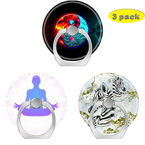 3 Pack/Cell Phone Ring Holder 360 Degree Rotation Finger Stand Works for All Smartphone and Tablets-Ying yang Yoga Zebra Africa Savanna Wild Animals Black White ()