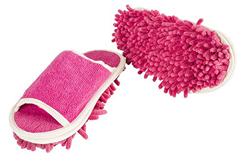 Slipper Genie Microfiber Women's Slippers for Cleaning and Dusting, Women's House Slippers, Multi-Surface Cleaner, Dust Cleaning Tool, Pink, Fits Women Size 6-9