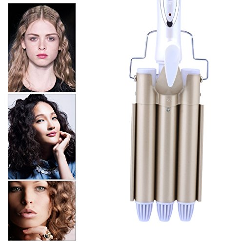 3 Barrel Iron,CkeyiN Professional Tourmaline Ceramic Fast Heating Hair Curler,Large Wave Perm Splint 3 Barrel Curling Iron