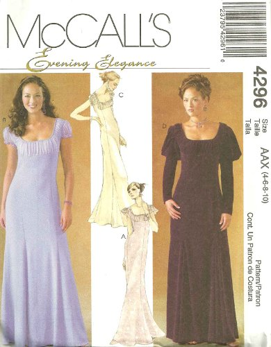 Misses/Miss Petite Dresses McCall's Evening Elegance Sewing Pattern 4296 (Size AAX: 4-6-8-10)