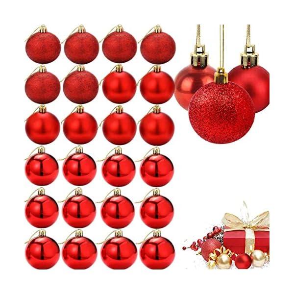 ZHOUZHOU 24 Pezzi 4cm Palle di Natale,Palline di Natale,Albero di Natale Palla Decorazioni,Palle Albero di Natale,Ornamenti di Palla di Natale,Natalizie Plastica Palle (Rosso) 1 spesavip