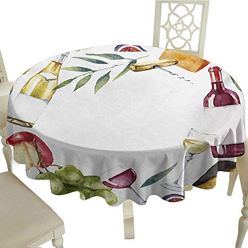 - Round Outdoor Round Tablecloth with 36 Inch Wine,Round Frame with Hand Painted Food Objects Watercolor Wine Cheese Fruits Collection,Multicolor for Home,Party,Wedding & More