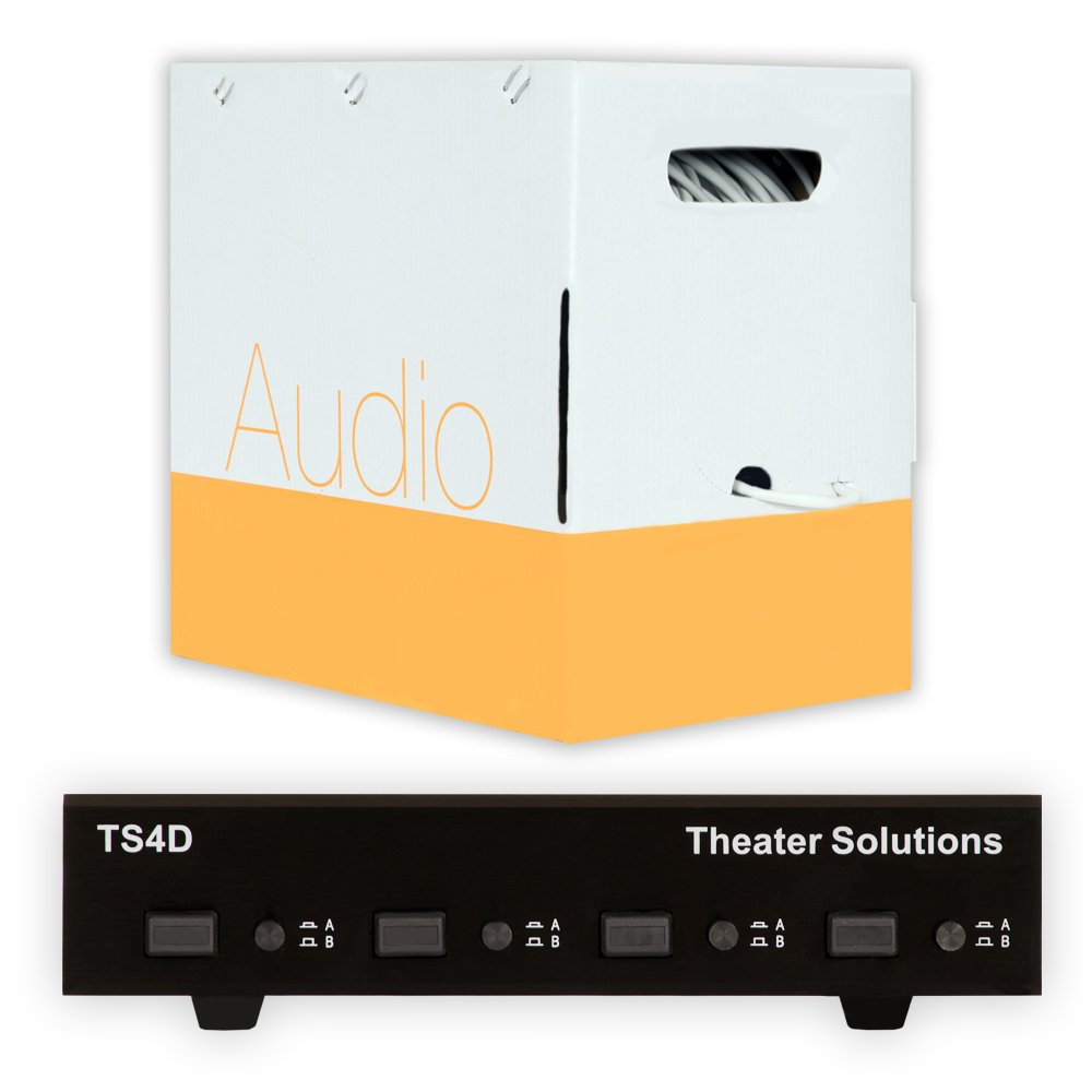 Theater Solutions TS4D Dual Input 4 Zone Speaker Selector Box and 500' of C500-14-4 Wire by Theater Solutions