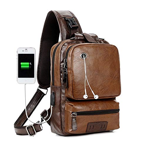 Men PU Leather Sling Bag Cross Body Messenger Daybag Unbalance Chest Pack Satchel Shoulder Travel Cycling Backpack with USB Charge