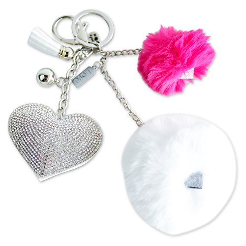 Pom Pom Keychain. Fluffy Puff Ball Keychain with Rhinestone Heart, Charms and Love Message.