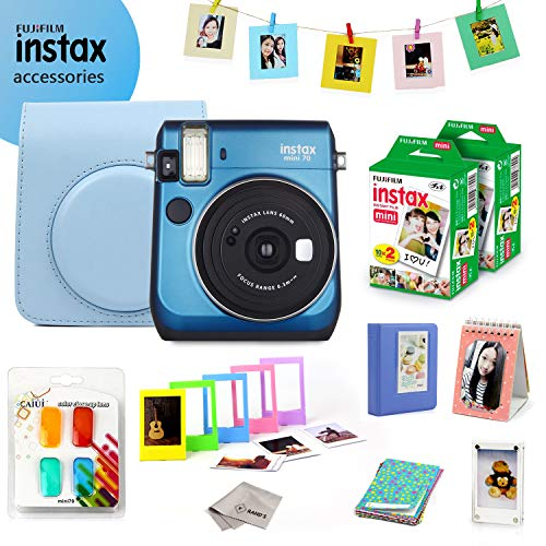 Fujifilm Instax Mini 70 Bundle (Blue) – Fuji Camera Instant Film (40 Sheets) + 9-in-1 Accessory Bundle – Carry Case, 4 Color Filters, 2 Photo Albums, Assorted Frames & Much More