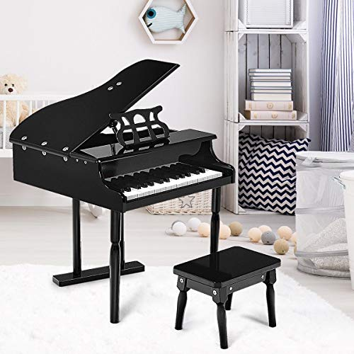 Lek Store Black 30-Key Children Grand Piano with Bench Child Musical Instrument Hobbies Educational Music Art Home Toys Games, Pianino, House, Hobby, Girl, Kids, Gift, Present, Indoor, Wooden from Lek Store