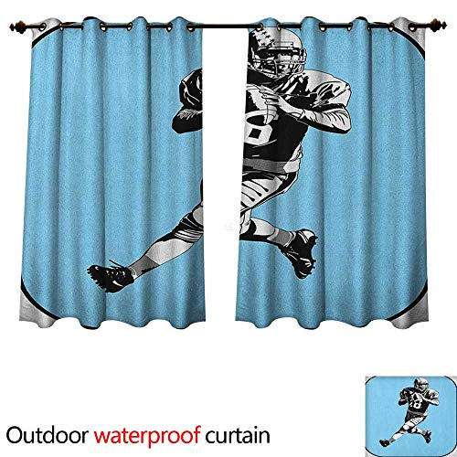 Anshesix Sports Outdoor Curtain for Patio American Football League Game Rugby Player Run Original Retro Illustration W63 x L63(160cm x 160cm) ()