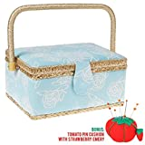 SewKit | Large Sewing Basket Organizer with Complete Sewing Kit Accessories Included | Wooden Sewing Basket Kit with Removable Tray and Tomato Pincushion for Sewing Mending | Light Blue | 220.21