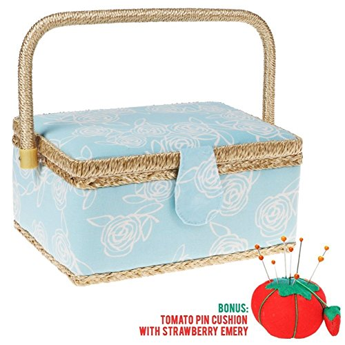 SewKit | Large Sewing Basket Organizer with Complete Sewing Kit Accessories Included | Wooden Sewing Basket Kit with Removable Tray and Tomato Pincushion for Sewing Mending | Light Blue | 220.21 by Sewkit