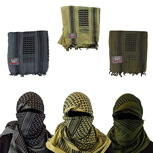 Maddog Sports Shemagh Tactical Desert Scarf - Variety 3-Pack