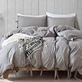 Lannomo Duvet Cover Set with Strap Closer-Ultra Soft 100% Washed Cotton Microfiber 3 Piece Set with 2 Pillow Shams Insert Comforter Protector-King(104