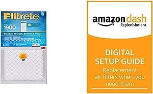 Filtrete Smart Filter 16 x 20 x 1 MPR 1900 Premium Allergen, Bacteria & Virus AC Furnace Air Filter 2-Pack and Amazon Dash Replenishment Digital Setup Guide