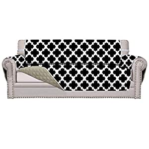 Easy-Going Sofa Covers, Slipcovers, Reversible Quilted Furniture Protector, Improved Anti-Slip with Elastic Straps and Foams (Oversized Sofa, Black Four-Leaf Clover/Beige)